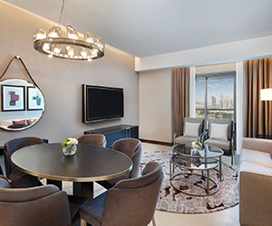Win a night's stay in a one-bedroom apartment for two at Hilton The Pearl
